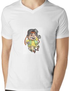 Hunk is ready to fight! Mens V-Neck T-Shirt