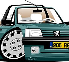 Peugeot 205 Cabriolet Roland Garros caricature by car2oonz