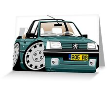 Peugeot 205 Cabriolet Roland Garros caricature Greeting Card