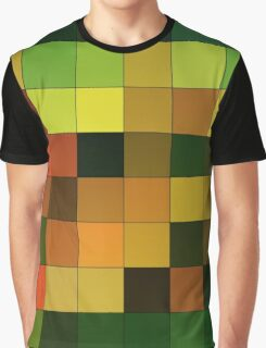 Abstraction #151 Orange Yellow Brown Green Squares  Graphic T-Shirt