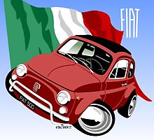 Classic Fiat 500L caricature red by car2oonz