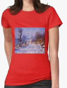 Claude Monet - Road To Giverny In Winter Womens Fitted T-Shirt