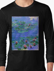 Claude Monet - Water Lilies Red 1919 Long Sleeve T-Shirt