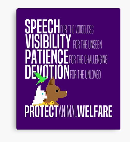 Protect Animal Welfare (white text) Canvas Print