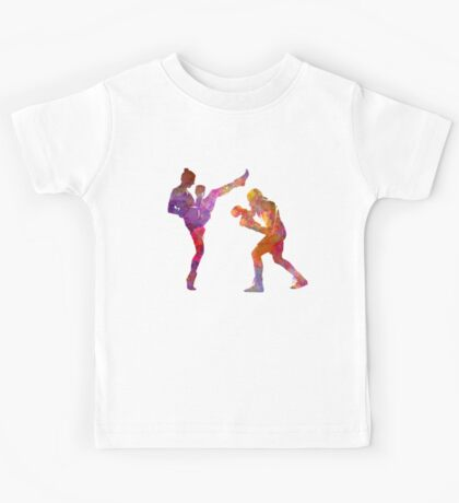 Woman boxwe boxing man kickboxing silhouette isolated 01 Kids Tee