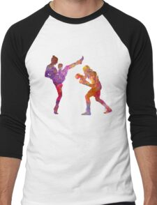Woman boxwe boxing man kickboxing silhouette isolated 01 Men's Baseball ¾ T-Shirt