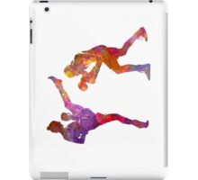 Woman boxwe boxing man kickboxing silhouette isolated 01 iPad Case/Skin