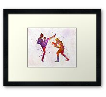 Woman boxwe boxing man kickboxing silhouette isolated 01 Framed Print