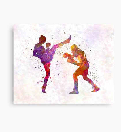 Woman boxwe boxing man kickboxing silhouette isolated 01 Canvas Print