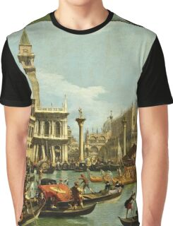 Canaletto Bernardo Bellotto - Bucentaurs return to the pier by the Palazzo Ducale 1728 - 1729  Graphic T-Shirt