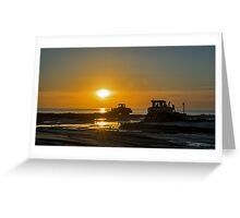 Workers at sunset Greeting Card