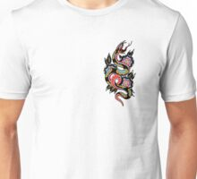 Traditional Snake and Geometric Flowers Tattoo Design Unisex T-Shirt