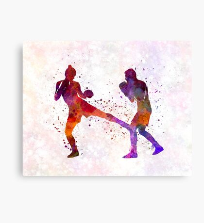 woman boxer boxing man kickboxing silhouette isolated 02 Canvas Print