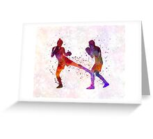 woman boxer boxing man kickboxing silhouette isolated 02 Greeting Card