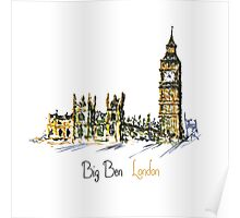 Watercolor Clock tower Big Ben  Poster