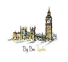 Watercolor Clock tower Big Ben  Photographic Print