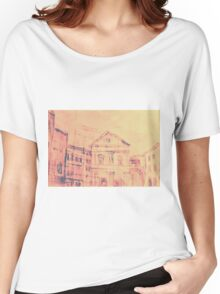 Colorful artistic watercolor of classical buildings Women's Relaxed Fit T-Shirt