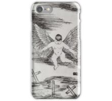 Sad angel in old cemetery  iPhone Case/Skin