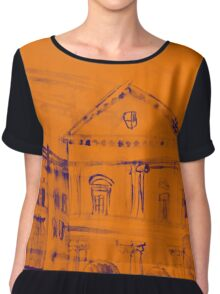 Colorful artistic watercolor of classical buildings Chiffon Top