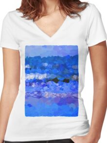 Purple Waves on a Dark Day 2 Women's Fitted V-Neck T-Shirt