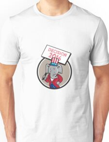 Republican Elephant Mascot Decision 2016 Circle Cartoon Unisex T-Shirt