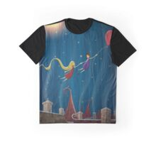 Illustration of a couple flying above city with a balloon at night Graphic T-Shirt