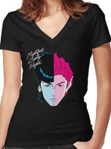 Mystified Lonely Nights Women's Fitted V-Neck T-Shirt