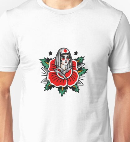 Traditional Rose Pin Up Nurse Tattoo Design Unisex T-Shirt
