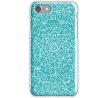 Blue doodle mandala iPhone Case/Skin