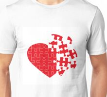 Red Broken puzzle heart Unisex T-Shirt
