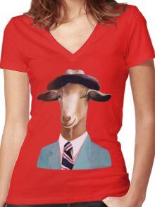 Goat Women's Fitted V-Neck T-Shirt