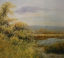 A Walk by the Lake - Representational Landscape by Meaghan Louise