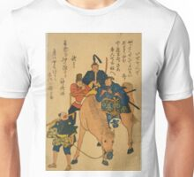 Anonymous - Two Japanese Men and Foreigner On Horse While Farmer Walks - Circa 1875 - Woodcut Unisex T-Shirt