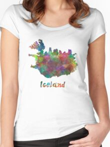 Iceland in watercolor Women's Fitted Scoop T-Shirt