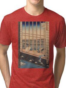 Asakusa ricefields and Torinomachi Festival - Hiroshige Ando - 1857 Tri-blend T-Shirt