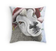 Festive sheep in a hat Throw Pillow