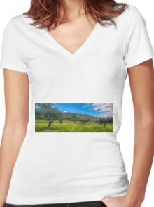 Spanish olive grove in springtime Women's Fitted V-Neck T-Shirt