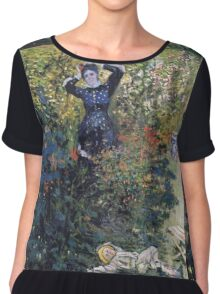 Claude Monet - Camille And Jean Monet In The Garden At Argenteuil Chiffon Top