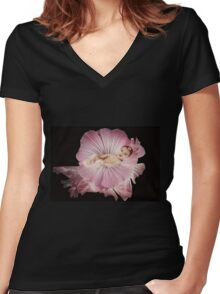 The pink orchid Women's Fitted V-Neck T-Shirt