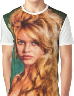 Brigitte Bardot Hollywood Icon by Mary Bassett Graphic T-Shirt