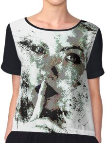Cool Graphic Abstract Woman's Face Chiffon Top