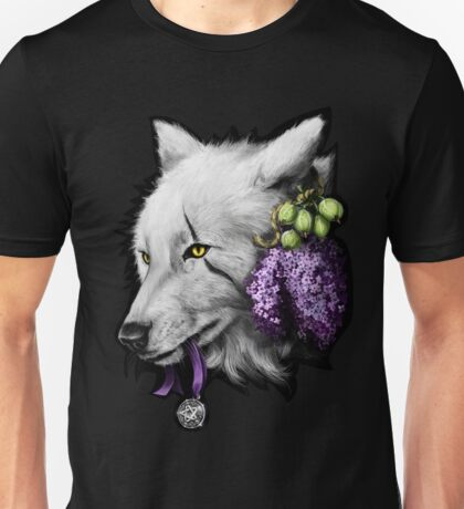 White Wolf with Lillac and Gooseberries Unisex T-Shirt