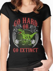 Go Hard or Go Extinct (Deadlift T-Rex) Vintage Women's Fitted Scoop T-Shirt