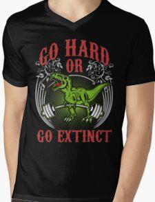 Go Hard or Go Extinct (Deadlift T-Rex) Vintage Mens V-Neck T-Shirt