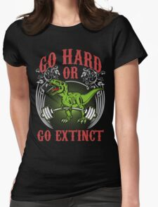 Go Hard or Go Extinct (Deadlift T-Rex) Vintage Womens Fitted T-Shirt