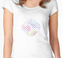 Watercolor fish scale pattern in blue and pink Women's Fitted Scoop T-Shirt