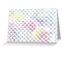 Watercolor fish scale pattern in blue and pink Greeting Card