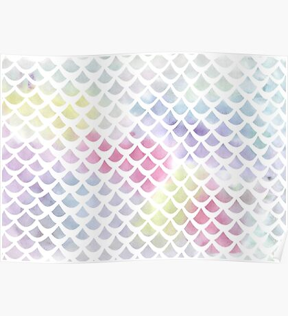 Watercolor fish scale pattern in blue and pink Poster