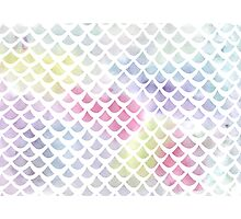 Watercolor fish scale pattern in blue and pink Photographic Print