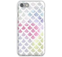 Watercolor fish scale pattern in blue and pink iPhone Case/Skin
